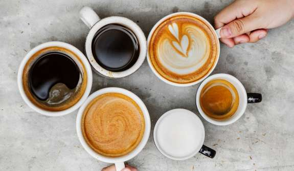 six coffee variants hands