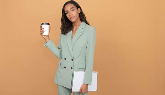 coffee to go business woman laptop